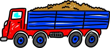 Tipper truck. Carrying earth isolated on white drawn in toddler art style Royalty Free Stock Image