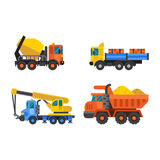 Tipper truck and construction crane industry vector illustration. Royalty Free Stock Image