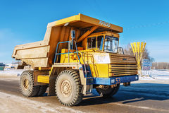 Tipper. Truck goes to quarry. Winter Belarus Vitebsk 2013 Dolomite mining Stock Images