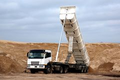 Tipper Truck in Sand Quarry Stock Images