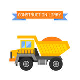 Tipper yellow truck for construction industry vector illustration. Royalty Free Stock Photo