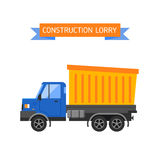 Tipper yellow truck for construction industry vector illustration. Stock Image