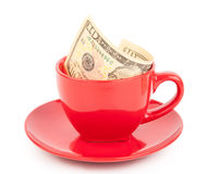 Tipping in the cup Royalty Free Stock Photography
