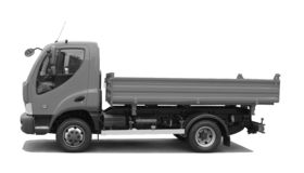 Tipping lorry. BW tipping lorry isolated on white Stock Image