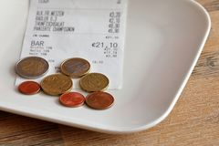 Tipping when paying. The Tipping after the paying Royalty Free Stock Image