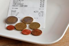 Tipping when paying. The Tipping after the paying Stock Image