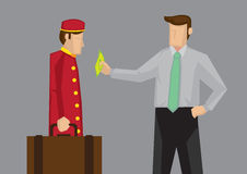 Tipping for Service in Hospitality Industry Vector Cartoon. Satisfied customer giving a dollar note as tip to hotel porter for carrying his luggage. Vector Stock Photo