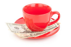 Tipping under the cup Royalty Free Stock Images