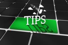 Tipps gegen schwarze Tastatur mit grünem Schlüssel Lizenzfreie Stockbilder