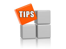 Tips. 3d white and orange boxes with text Royalty Free Stock Photography