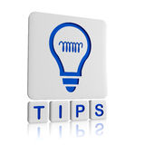 Tips - 3d icon. Tips 3d blue icon of bulb and text Stock Photography