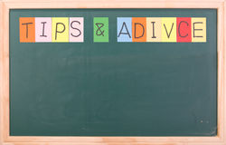 Tips and adivice, colorful word on blackboard Royalty Free Stock Photography
