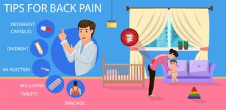 Tips for Back Pain for Mom. Vector Illustration. Tips for Back Pain for Mom. Bad Position for Hold Child. Recommendations for Treatment of Pain. Correct Posture vector illustration