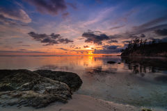 Tips of borneo sunset. This shoot taken during sunset at tips of borneo near south china sea stock photos