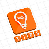 Tips and bulb symbol, flat design web icon Stock Photo