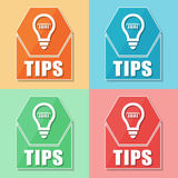 Tips and bulb symbol, four colors web icons Royalty Free Stock Photography