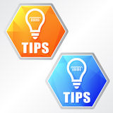 Tips and bulb symbol, two colors hexagons web icons Stock Image