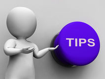 Tips Button Shows Guidance Suggestions Stock Photo