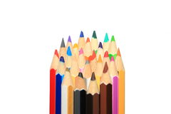 Tips of Color pencils isolated Royalty Free Stock Photography