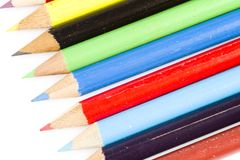 Tips of colorful drawing pencils Royalty Free Stock Photos