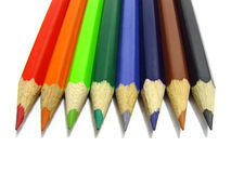 Tips of colour pencils. On the white background Stock Photo