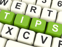 Tips Computer Keys Showing Hints And Guidance. Tips Computer Keys Meaning Hints And Guidance Royalty Free Stock Photo
