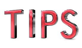 Tips 3d word. The tips word 3d rendered red and gray metallic color , isolated on white background Royalty Free Stock Image