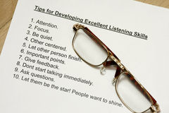 Tips for developing excellent listening skills. Concept Royalty Free Stock Photo