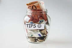 Tips. In glass transparent jar Stock Photo