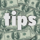 Tips Gratuity Word 3d Letters Money Cash Background Stock Photo