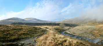 Tips at Greenside, Glenridding, panoramic Royalty Free Stock Photography