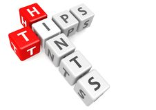 Tips and hints in cube Stock Photo