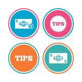 Tips icons. Cash with coin money symbol. Royalty Free Stock Photos