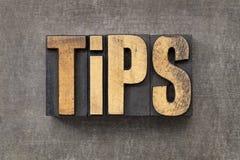Tips in letterpress wood type Stock Photos