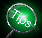Tips Magnifier Indicates Magnify Help And Button Royalty Free Stock Images
