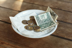 TIPS, Money left on table for server Stock Photo