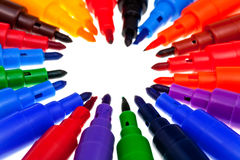 Tips of multicolored felt pens Royalty Free Stock Photo