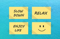Tips for relaxation on yellow paper notes Royalty Free Stock Photo