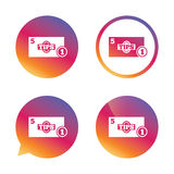 Tips sign icon. Cash money symbol. Coin. Royalty Free Stock Image