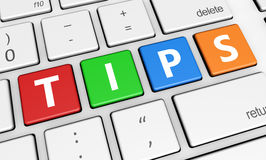 Tips Sign On Keyboard Royalty Free Stock Photography