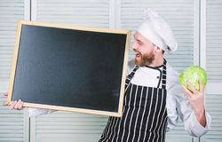 Tips to cook like pro. Man chef hat apron hold blackboard copy space. Recipe concept. Cooking delicious meal step by. Step. Menu for today. List ingredients for stock image