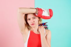 Tips to shop sales. Buy everything you want. Girl tired with shopping. Fight for personal discount. Survive black friday. Shopping. Woman red boxing glove hold stock photography