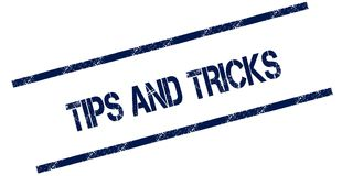 TIPS AND TRICKS blue distressed rubber stamp. Illustration concept Royalty Free Stock Photography