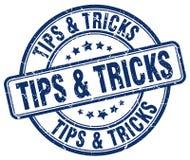 Tips & tricks blue grunge round stamp Royalty Free Stock Image
