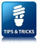 Tips and tricks (bulb icon) blue square button Royalty Free Stock Photography