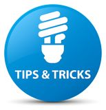 Tips and tricks (bulb icon) cyan blue round button Stock Images
