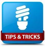 Tips and tricks (bulb icon) cyan blue square button red ribbon i. Tips and tricks (bulb icon) isolated on cyan blue square button with red ribbon in middle Stock Photography