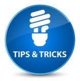 Tips and tricks (bulb icon) elegant blue round button Royalty Free Stock Photos