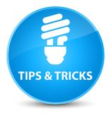 Tips and tricks (bulb icon) elegant cyan blue round button Royalty Free Stock Photography