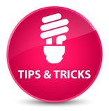 Tips and tricks (bulb icon) elegant pink round button Royalty Free Stock Photos